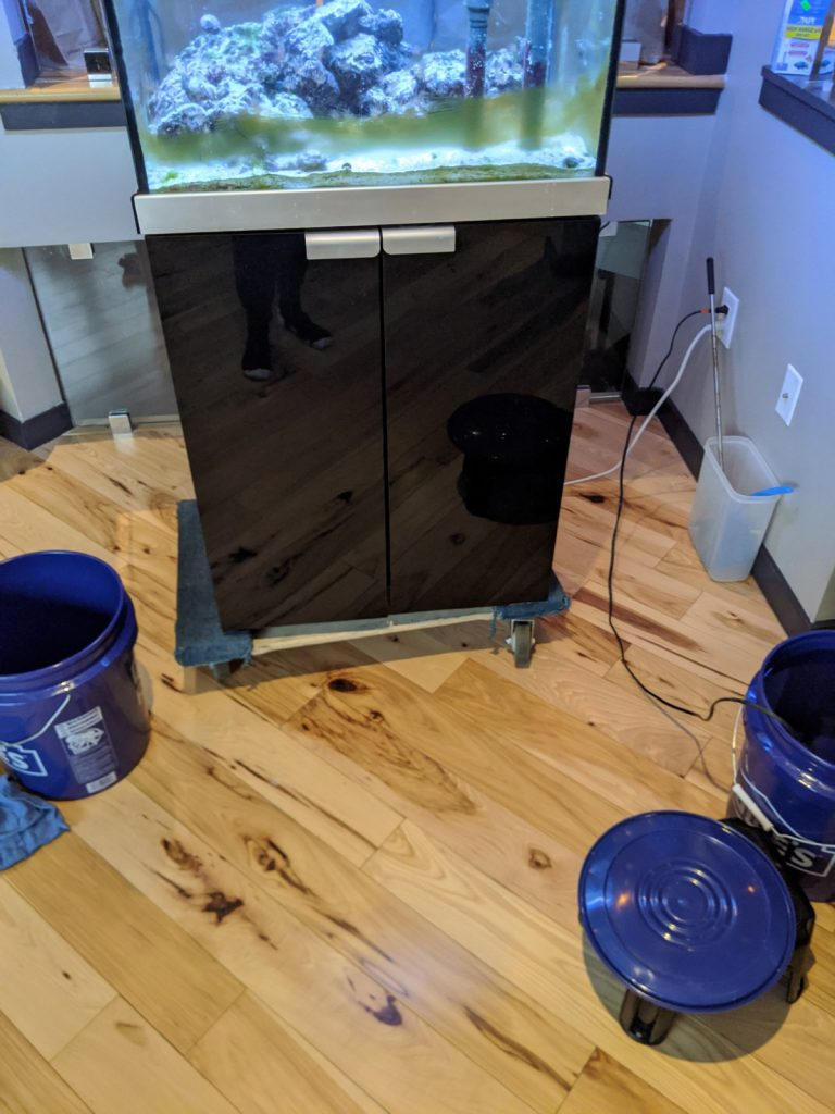 Moving an aquarium on a dolly