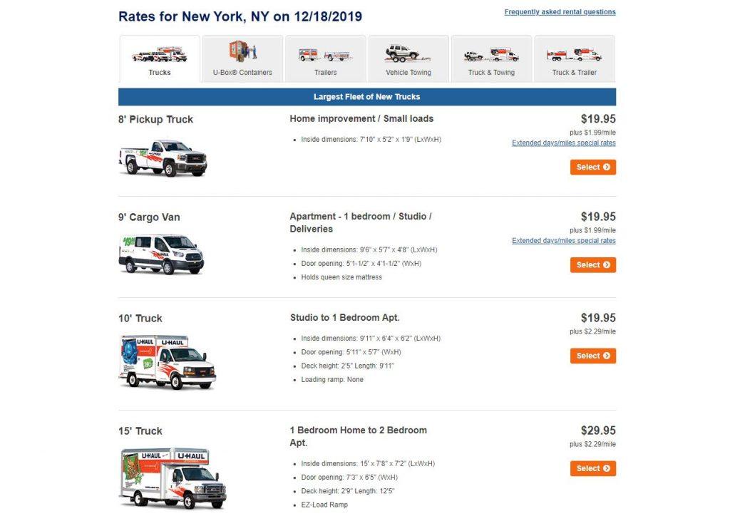 Uhaul moving truck rental rates
