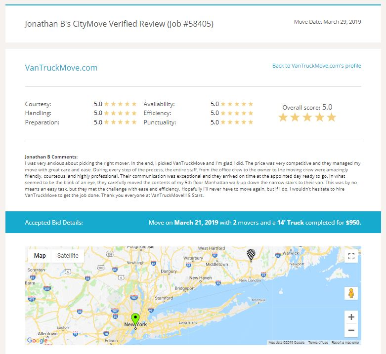 Citymove reviews are the best in the biz!